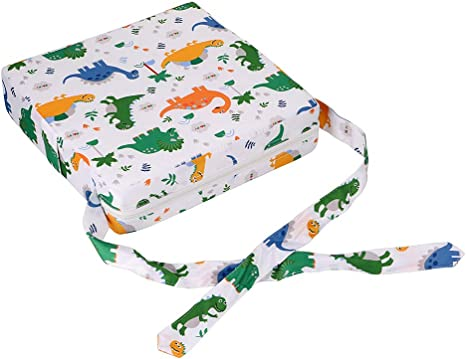 Baby Booster Seat Dismountable Adjustable Washable Toddler Dining Chair Pads Kid Infant Travel Seat Booster Cushion with Straps Dinosaur