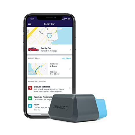 Automatic Connected Car Assistant New AUT-450C, LTE OBD II Adapter and App,  Trip Tracking, Severe Crash Alert, Engine Diagnostics, Realtime Car