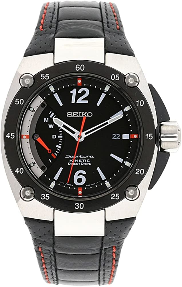 Seiko Men s SRG005P2 Sportura Stainless Steel Black Dial Automatic Leather Strap Watch