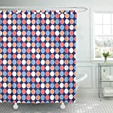 Cerise Pink Shower Curtain Emvency Waterproof Shower Curtains 72 x 78 Inches Colorful Abstract Dot Pattern in of Pink and Blue Purple Cerise Cherry Color Corporate Folder Decor Polyester Fabric Bathroom Set with Hooks Eco