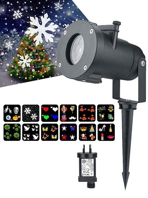 Luces de proyector de Navidad LED Lámpara de patrón de flores de ...