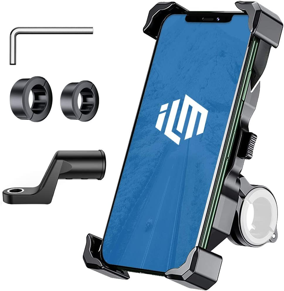ILM Motorcycle Bike Phone Mount Holder 360/° Rotation Adjustable Clamps for Handlebars Cell Phones iPhone Samsung Galaxy HUAWEI HTC Classic Phone Holder