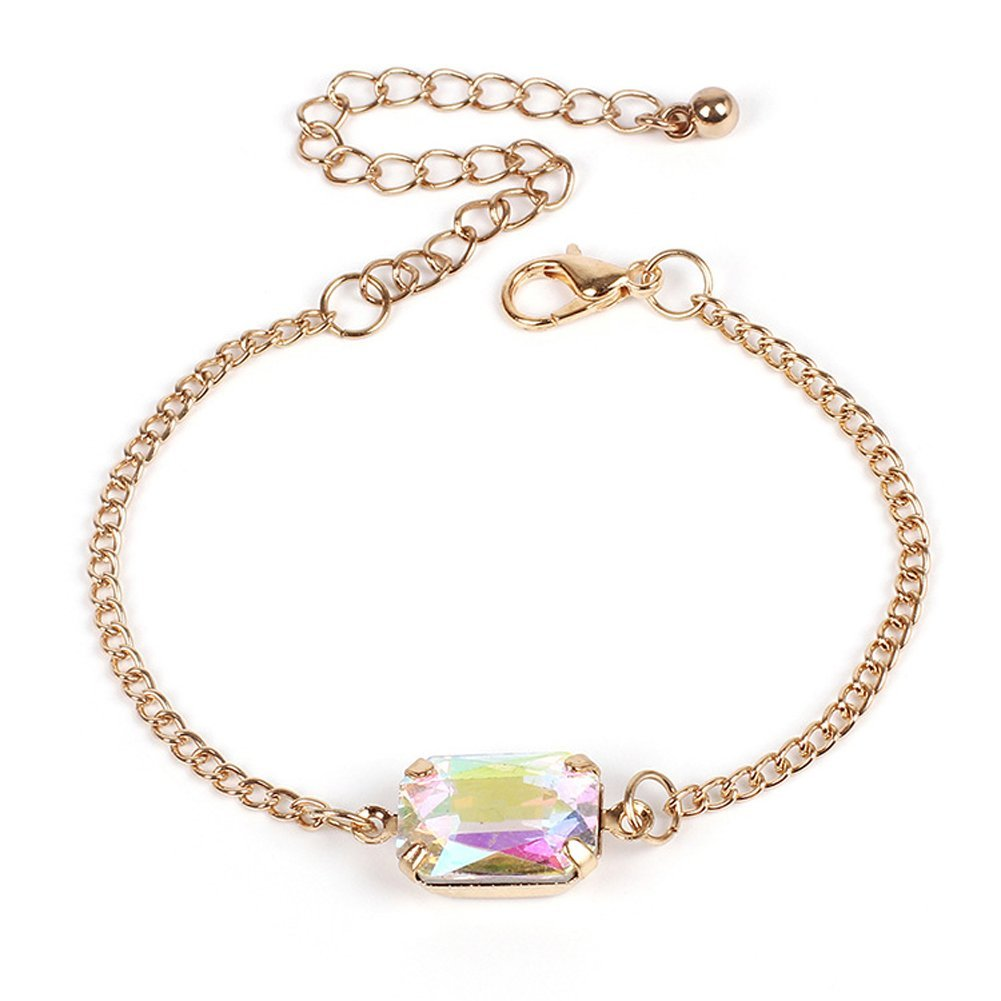 YAZILIND Simple Style Acrylic Colourful Cubic Zirconia Adjustable Chain Bracelet Gift for Girls