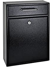 Mail Boss 7412 High Security Steel Locking Wall Mounted Mailbox-Office Comment Letter Deposit, Black Drop Box,