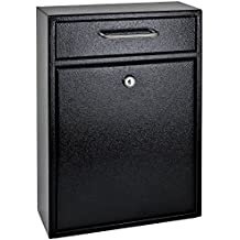 Mail Boss 7412 High Security Steel Locking Wall Mounted Mailbox - Office Drop Box - Comment Box - Letter Box - Deposit Box, Black