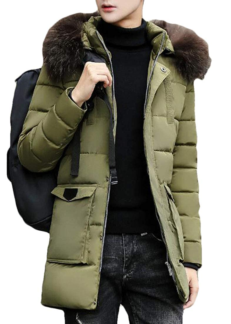X-Future Men Winter Faux Fur Hooded Quilted Padded Thicken Warm Middle Length Puffer Jacket