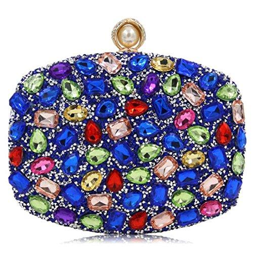 pour mariage de sacs les pour Shimmer Blue sac les de à à main main à soirée strass d'embrayage femmes clubs Sacs sac NBWE partie main de BwUU7g