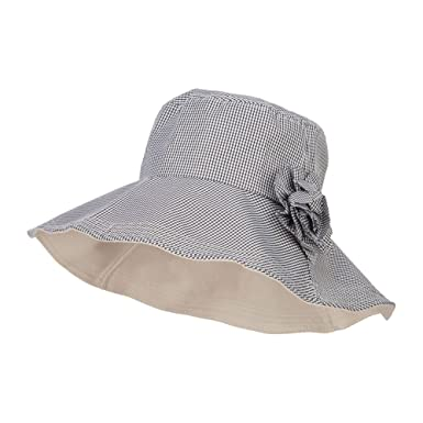 6ae5e67be13 Jeanne Simmons Checked Flower Accent Crushable Hat - Black OSFM at ...