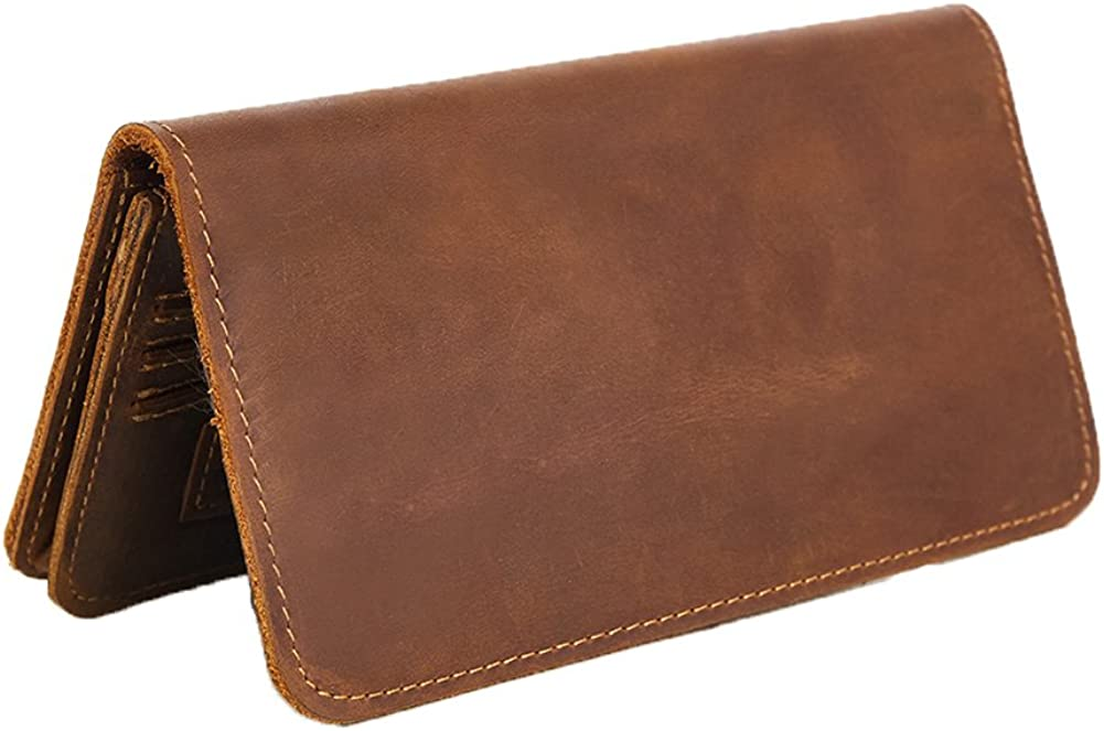 Genda 2Archer Mens Vintage Look Genuine Leather Long Multi-Card Bifold Wallet