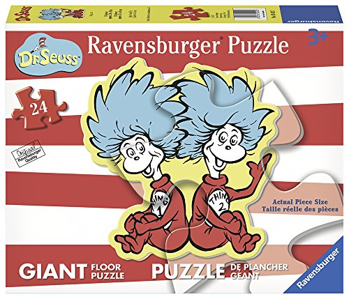 Ravensburger -Dr. Seuss - Thing 1 & 2 Shaped Floor Puzzle 24 Piece Jigsaw Puzzle for Kids – Every Piece is Unique, Pieces Fit Together Perfectly