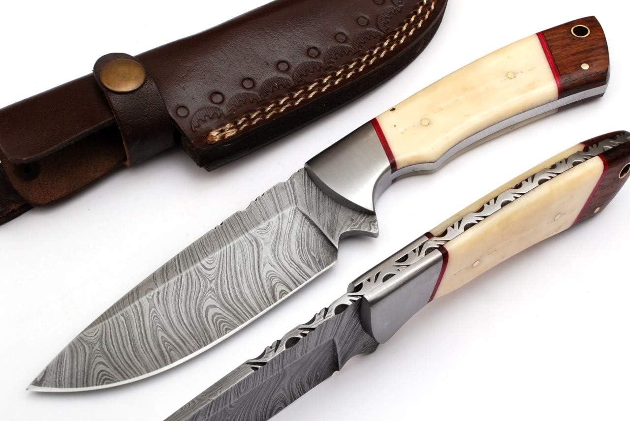 RA-9022-B Custom Made Damascus Steel Hunting Knife Bone Handle with Real Leather Sheath.