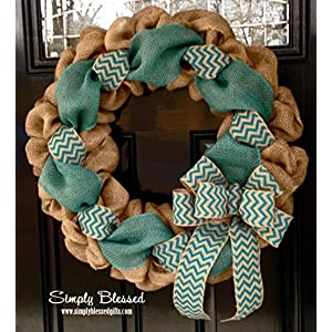 Turquoise/Teal Chevron Burlap Wreath 22 inch front door or accent - outdoor/indoor 68