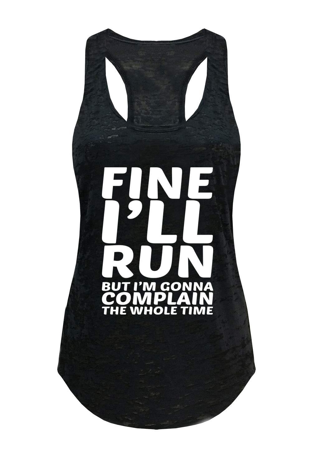 Tough Cookie's Women's Fine I'll Run Burnout Tank Top (Large - LF, Black)