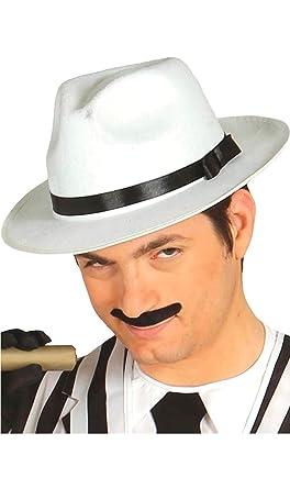 Guirca Sombrero de gángster blanco con cinta negra  Amazon.it ... 42c4e14db7c6