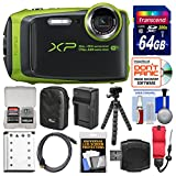 Fujifilm FinePix XP120 Shock & Waterproof Wi-Fi Digital Camera (Lime Green) with 64GB Card + Case + Battery + Charger + Flex Tripod + Strap + Kit