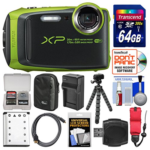 Fujifilm FinePix XP120 Shock & Waterproof Wi-Fi Digital Camera (Lime Green) with 64GB Card + Case + Battery + Charger + Flex Tripod + Strap + Kit by Fujifilm