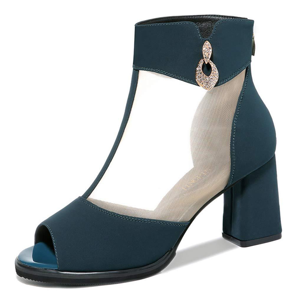 bluee Fish Mouth Sandals Women's boots Chelsea boots Roman Mesh Zipper High Heels Fashion shoes boots
