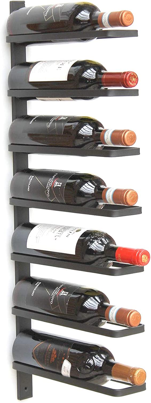 DanDiBo Wine Rack wall mounted 7 Bottles black Metal Bottle Holder Rack shelf