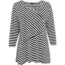 Women's Plus-Size Half Sleeve Round Neck Stripe...