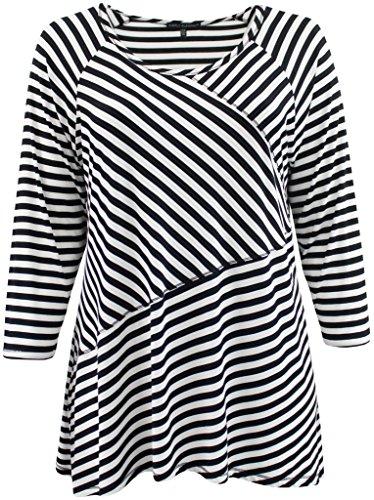 BNY Corner Womens Plus-Size Half Sleeve Round Neck Stripe Asymmetrical Tee Knit Top