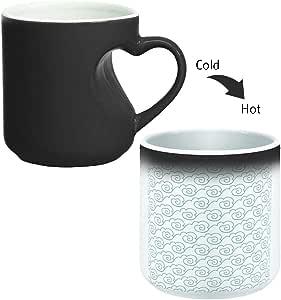 كوب سحري للقهوة أو الشاي بمقبض على شكل قلب، ماركة ديكالاك، mugHM-BLK-02474