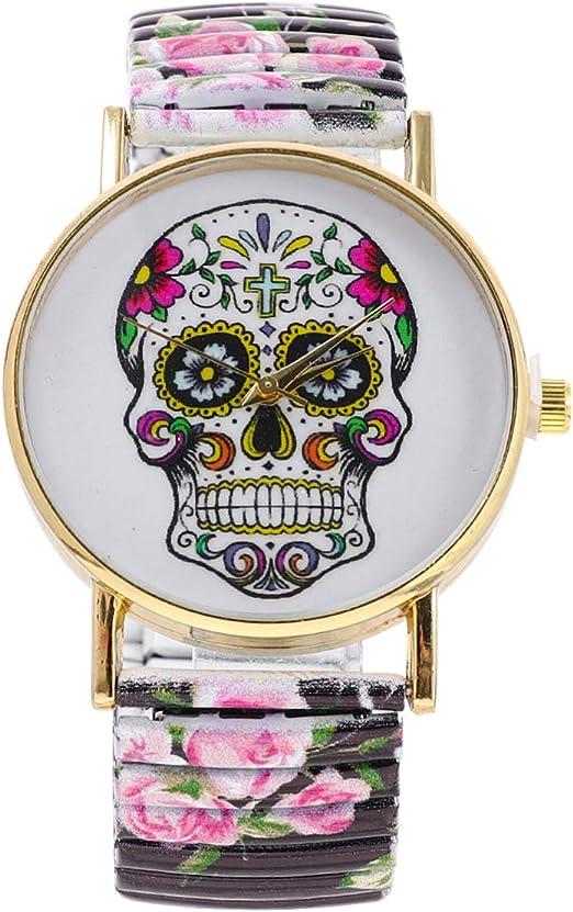 Baluue Reloj De Cuarzo Para Mujer Reloj Con Patron De Calavera De Halloween Reloj De Pulsera Floral De Acero Inoxidable Reloj De Regalo Creativo Para Mujeres Ninas Amazon Es Relojes