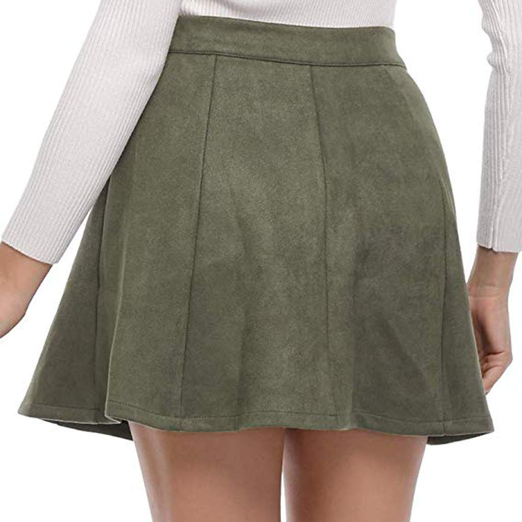 Colmkley Women Faux Suede Skirt Casual Button A-Line High Wasit Mini Short Skirt