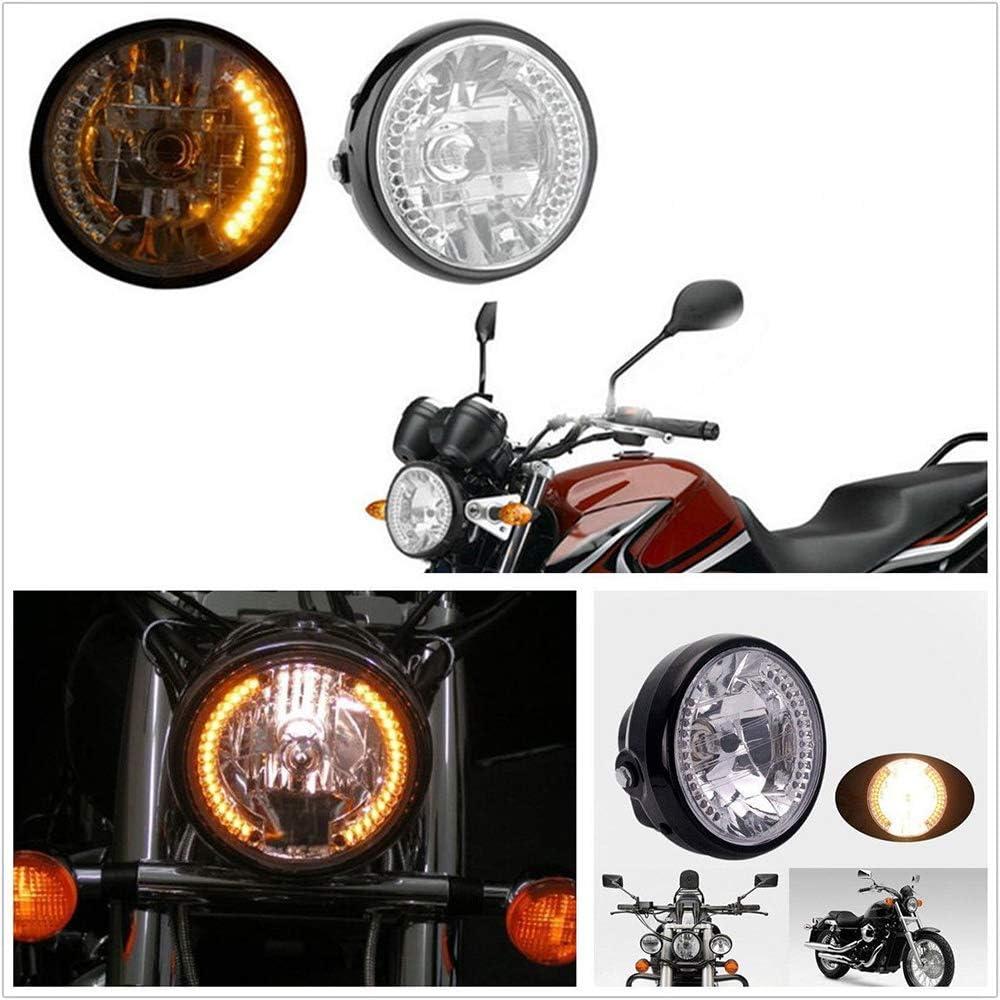 Qiilu 7 Inch Universal Motorcycle Motorbike Headlight with Turn Signal /& 35W H4 Halogen Bulb Front Light Compatible with Suzuki Harley Kawasaki ATV etc.Motorcycles