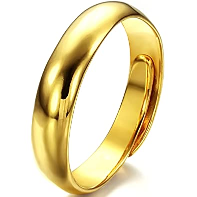 JewelryWe Gift for Mom 5mm High Polished Yellow Gold Tone Ladies