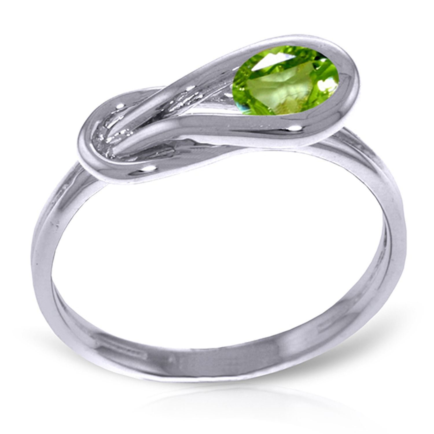 ALARRI 0.65 CTW 14K Solid White Gold Pray For Love Peridot Ring With Ring Size 6.5