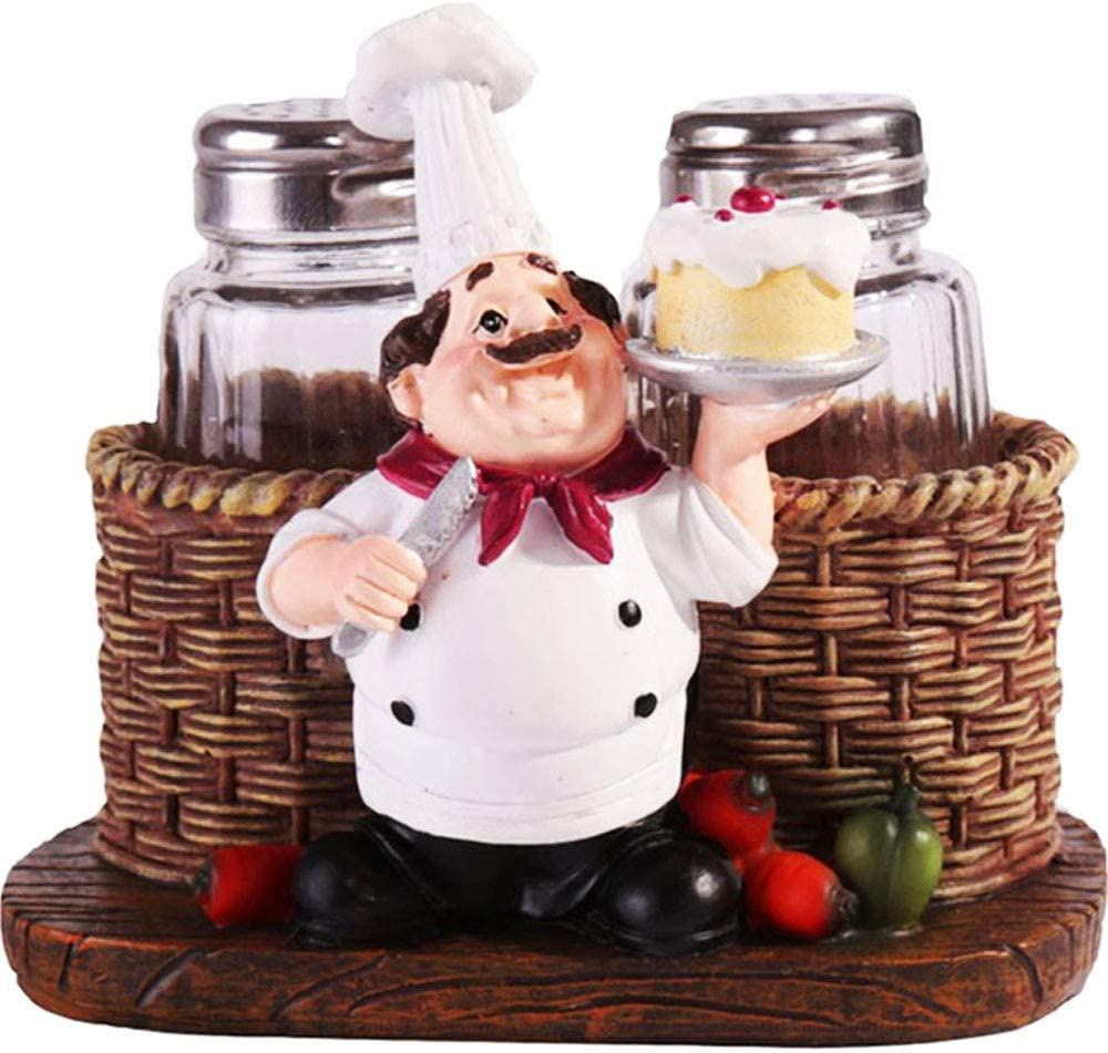 Salt and Pepper Shaker Sets,Sitting Chef Decorative Statue Spice Organizer,Glass Spice Jars with Holder Figurine Gift for Family,Kitchen,Restaurant, Cafe,Bakery (Cake)
