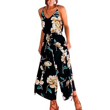 cf29a4710ca7 Longay Women V Neck Spaghetti Strap Drawstring Flowers Romper Jumpsuit  Dress Summer Vintage Long Dress (