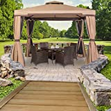 SUNCROWN Outdoor Garden Gazebo 10′ x 10′ Patios Gazebo All-Season Permanent Gazebo w/Vented Soft Canopy, Double Square Tops & Mosquito Netting- Beige | Front Porch, Sand