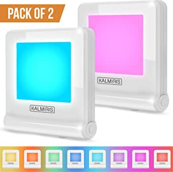 KALMIRIS Night Lights Plug Into Wall - RGB Color Changing Nightlight for Children - Cool Boys and Girls Night Lights for Bedroom - Safe Toddler and Kids Night Light Plug in with Dusk to Dawn Sensor