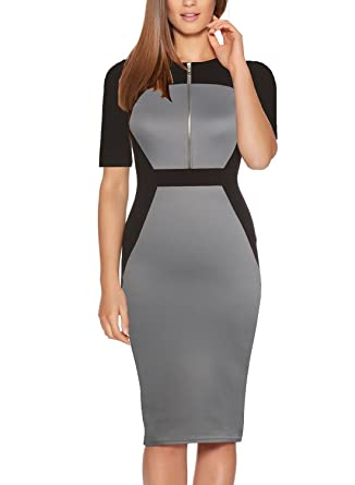 07999823e5f Fantaist Women Winter Half Sleeve Slim Fitted Bodycon Pencil Wear to Work  Dress (XS