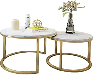 NMDCDH Tables Home Décor Furniture Modern Coffee Table Marble Top, Industrial Round Metal Frame, Gold - Set of 2 Living Room or Lounge