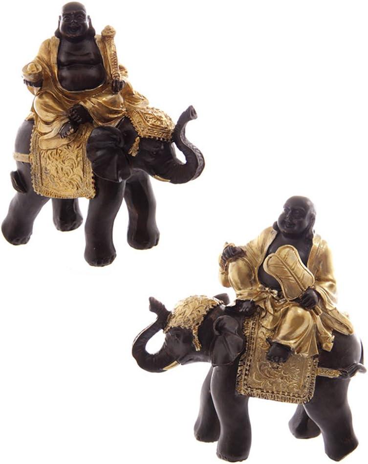 Pair of Chinese Buddha Riding Elephant