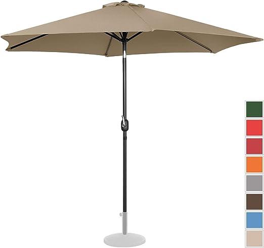 Uniprodo Sombrilla Grande Parasol De Jardín Uni_Umbrella_TR300TA (Pantalla Hexagonal De Ø 300 cm con Densidad De 180 g/m2, Inclinable, Color Topo): Amazon.es: Jardín