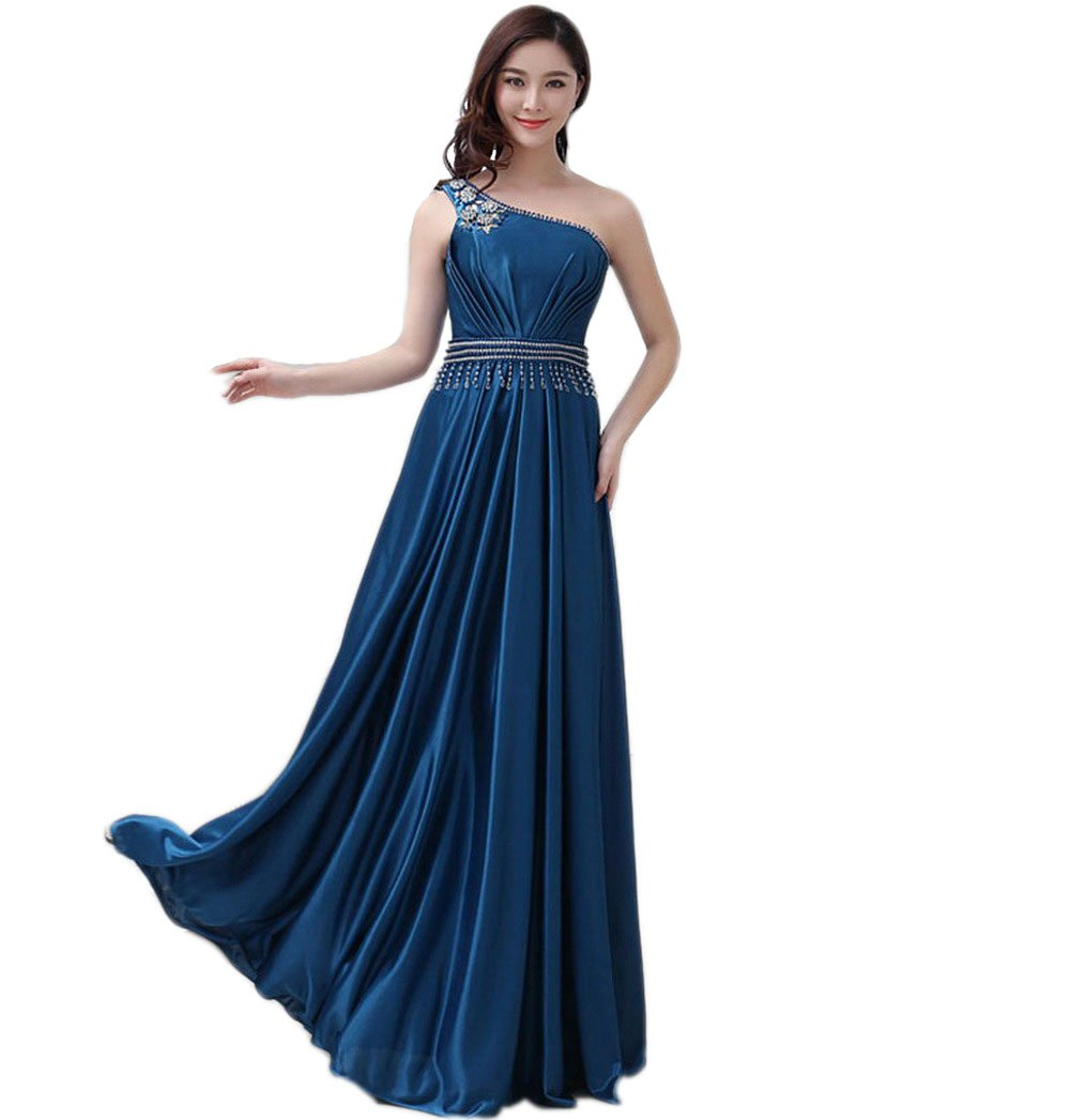 VogueZone009 Womens One Shoulder Formal Dresses with Glass Diamond and Charms, Blue, 18