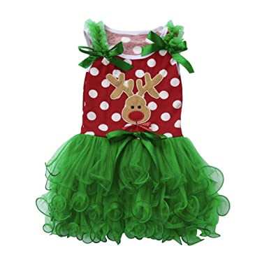 Kehen Kids Toddler Baby Girls New Years Christmas Party Costume Elk Dots Sleeveless Tutu Dress (