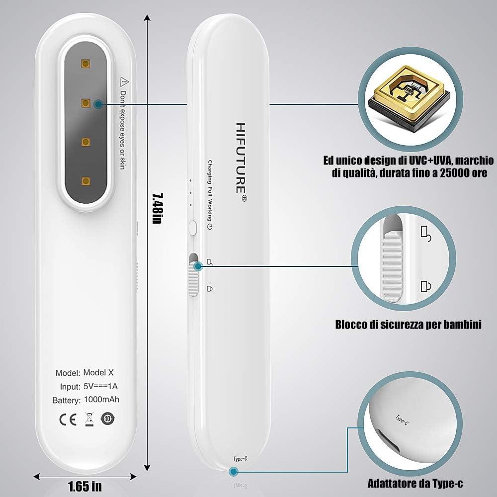 La lampada di disinfezione UV a LED HIFUTURE HACEX UVC LED distrugge il 99/% del DNA e dellRNA dei virus e batteri in 30 secondi ed /è ricaricabile e portatile
