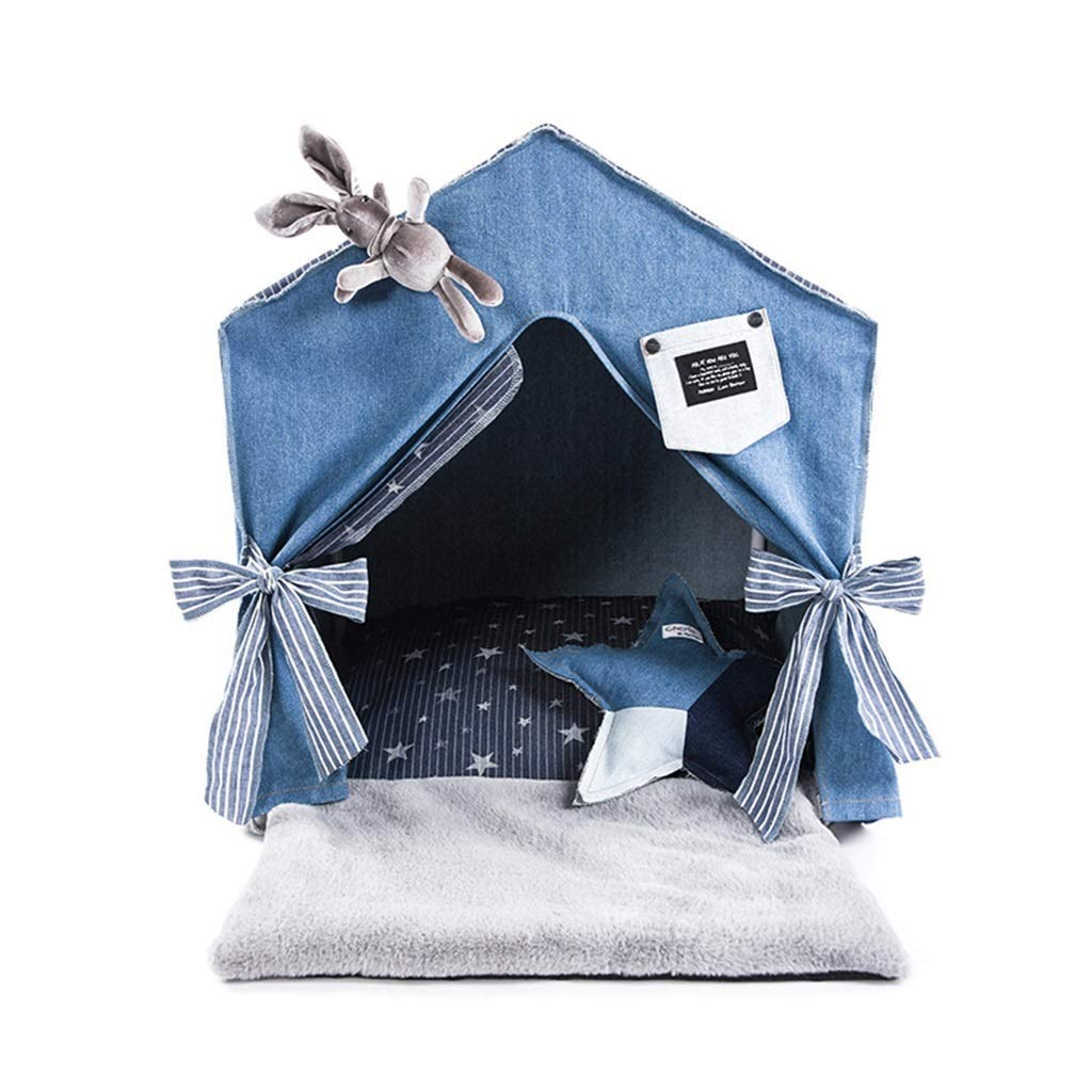 bluee Dog Teepee, Cat Nest Keep Warm Indoor Doghouse Small Medium Dogs House Teddy Villa Washable Tent Pet Supplies (color   bluee)