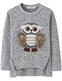 AuroraBaby Big Girls Sweatshirts Cute Owl Pullover Warm Fleece Sweater for Girls