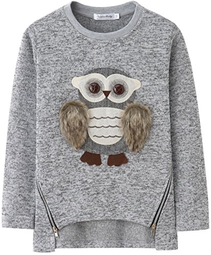 Sweatshirts for Girls Kids Fleece Pullover Fuzzy Cute Owl 8-10 Size 8 9