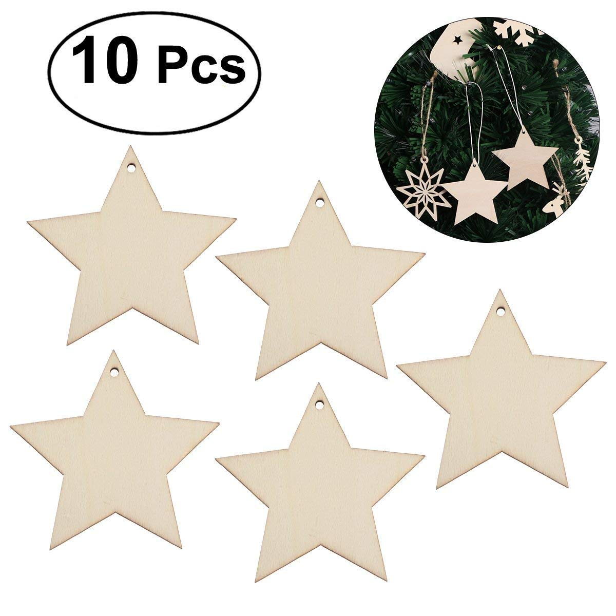Tinksky Christmas Wooden Hanging Decor Embellishments Christmas Tree Home Wall Decor Christmas Ornaments DIY 10pcs (Star)