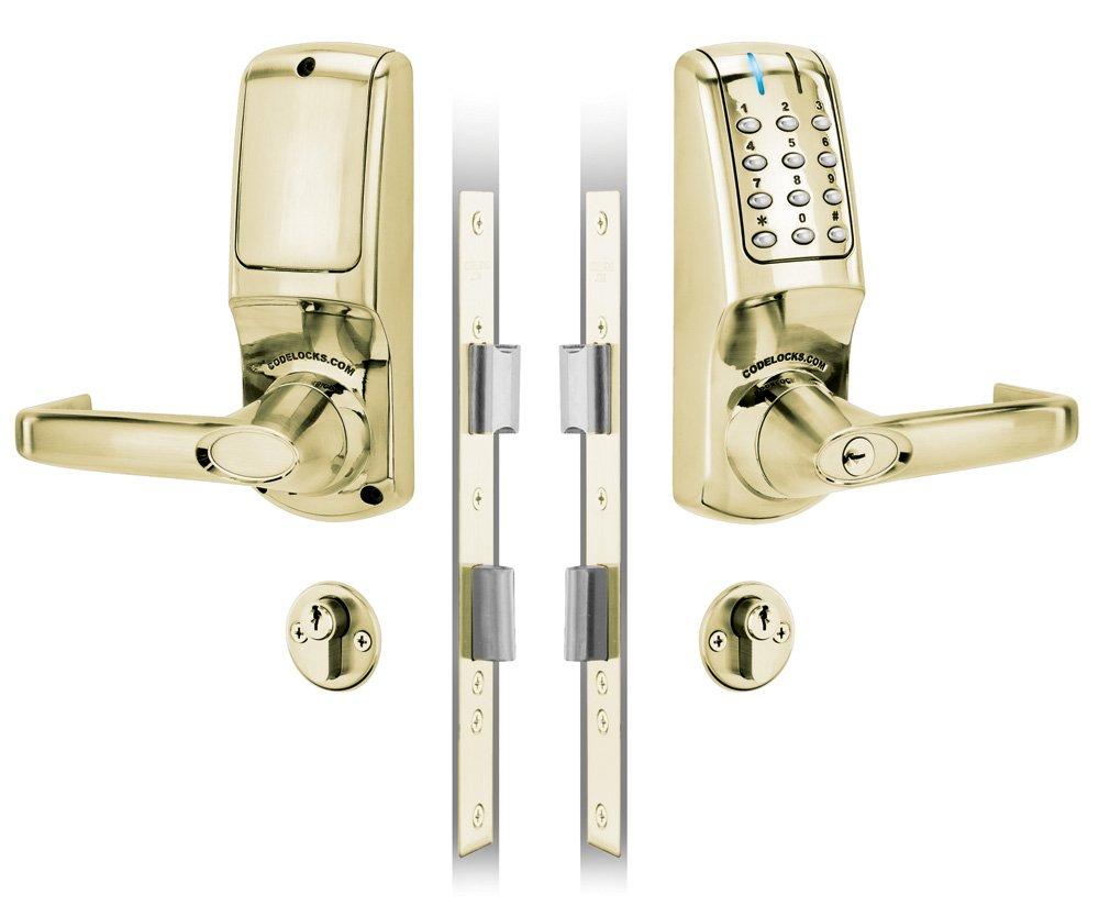 Codelocks Electronic Keypad Lock 2.3/4'' Tubular Latch Medium Grade Code Free Reversible Lever Stainless Steel