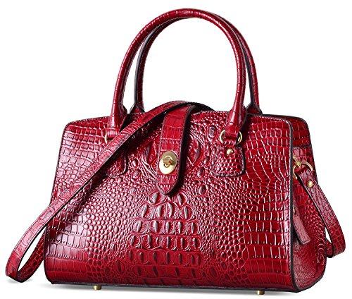 PIFUREN Women Top Handle Handbags Satchel Crocodile Shoulder Bag Tote Purse C69655L( Dark Red) by PIFUREN
