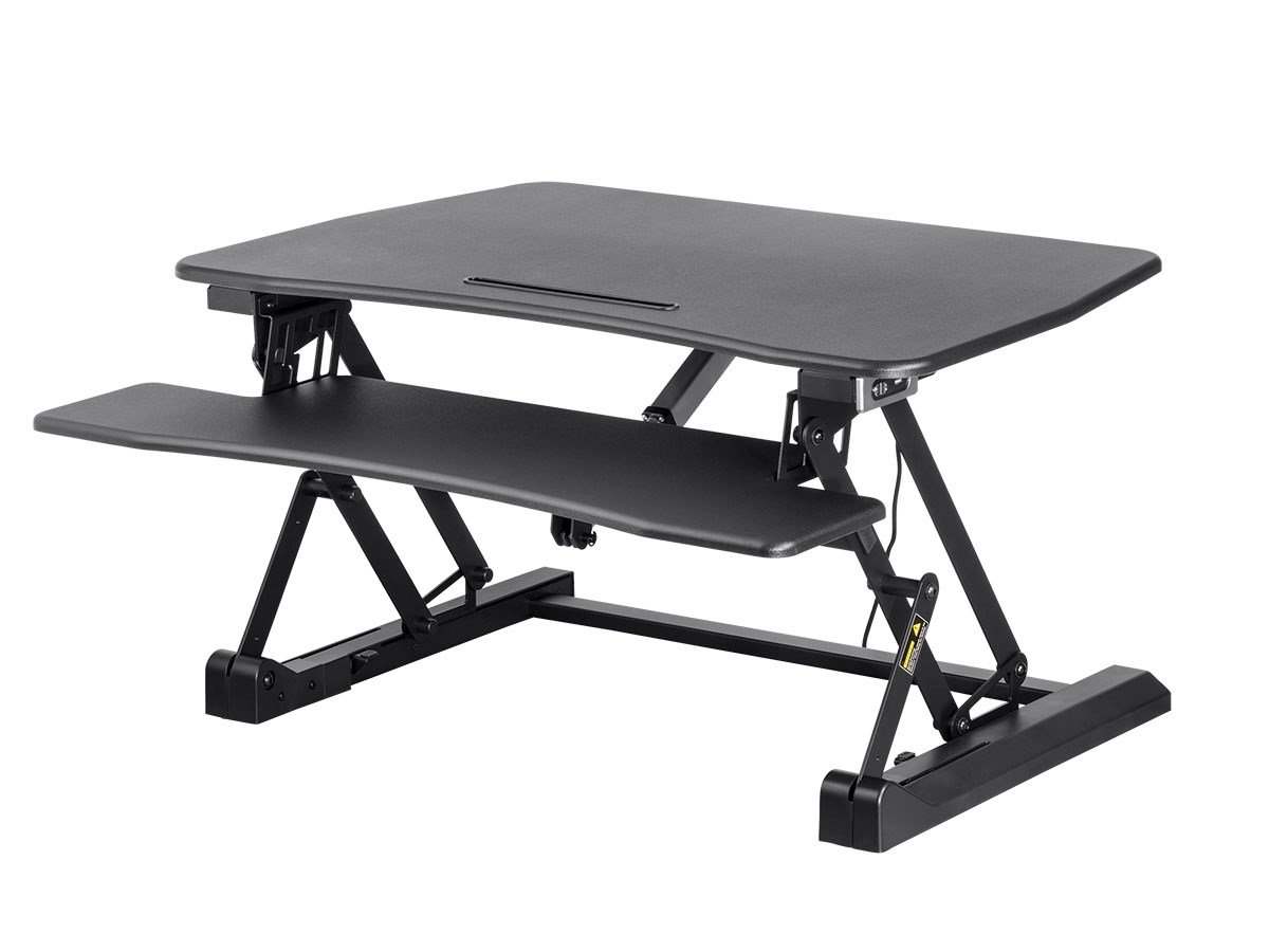 Monoprice Electric Height Adjustable Sit Stand Riser Table Top/Desk Converter - Black | 23.2 x 35.4 Inch Area, Single Monitor - Workstream Collection