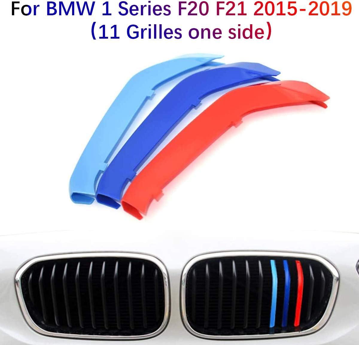 3D Coche Rejillas Frontales Para BMW Serie 1 F20 F21 2015-2019(11 Rejillas)Parrilla Delantera Trim M-Colore Cubierta Pegatinas Decoración 3 Piezas