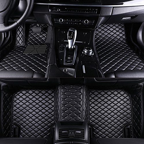 VEVAE Custom Car Floor Mats for Range Rover Sport L320 2005-2013 Laser Measured Faux Leather, All Weather Full Coverage Waterproof Carpets XPE Car Liner (Black with Black Stitching)